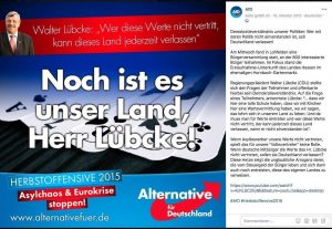 Faksimile Facebook: AfD Kassel zu Walter Lübcke